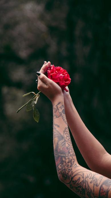 鲜花 纹身 个性 刺青 手部