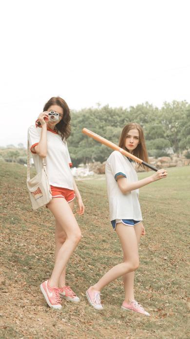 闺蜜 姐妹 朋友 欧美 夏日 棒球 户外