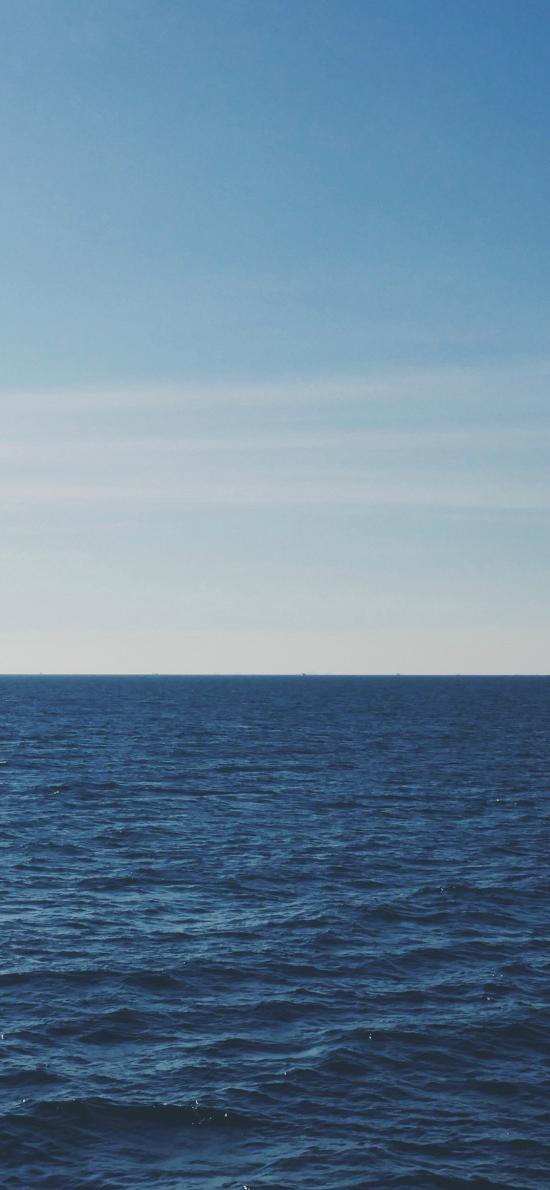 大海 海平面 蓝色 天空 一线天