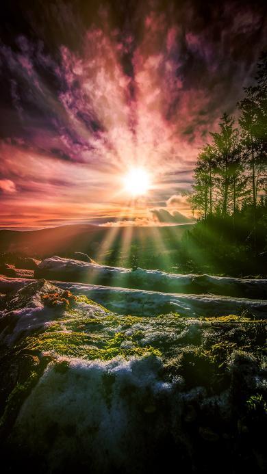 日落 夕阳 景色 奇幻
