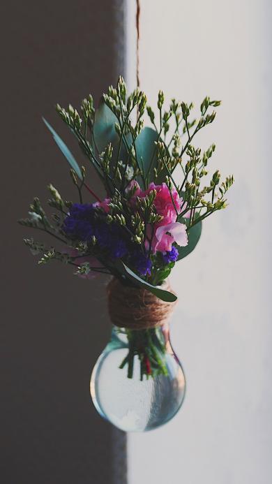 创意 玻璃瓶 垂挂 花草 花束