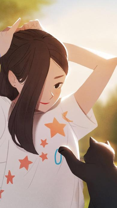 女孩与猫 插画 扎头发 猫咪