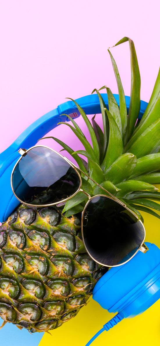 菠萝 墨镜 耳机 创意 色彩