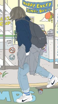 滑板女孩 插画 潮流 耐克