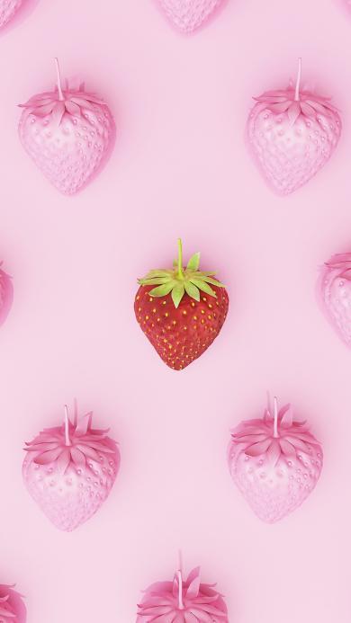 草莓 粉色 水果 平铺