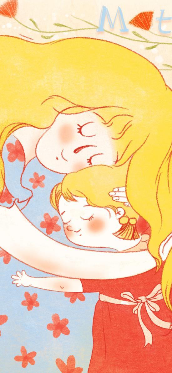 母亲节 母女 拥抱 亲情 妈妈
