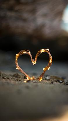 爱心 爱情 小灯泡 心形 海滩
