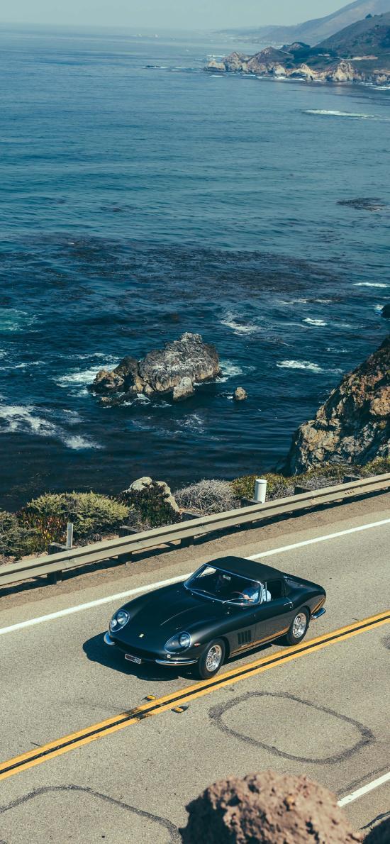 法拉利 超级跑车 炫酷 海岸 行驶 道路