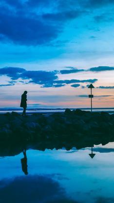景色 倒映 彩霞 海水