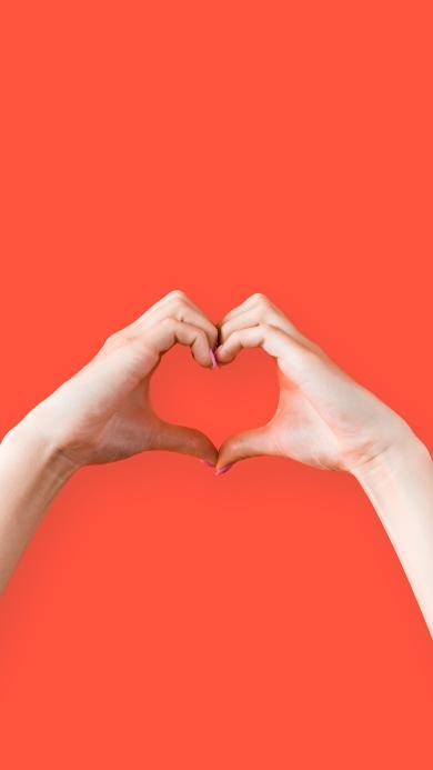 爱心 手势 比心 橘色 表白