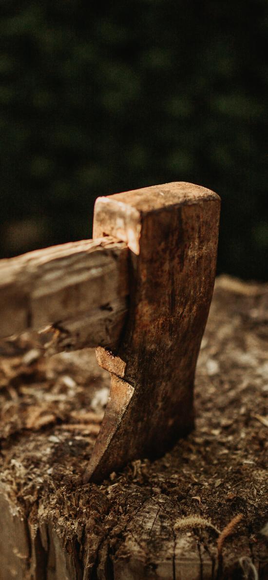 树桩 斧头 砍 木柴