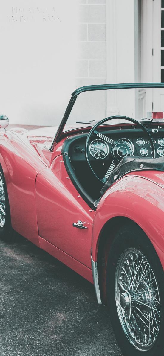敞篷車 炫酷 復古 跑車 紅色