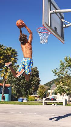 篮球 球框 灌篮 男子 户外