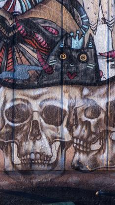 涂鸦 墙壁 街头 骷髅头 彩绘