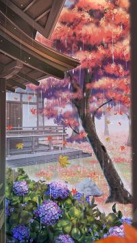 雨 漫画 场景 院子 树木