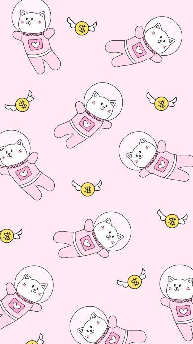 粉色系 卡通猫咪 平铺