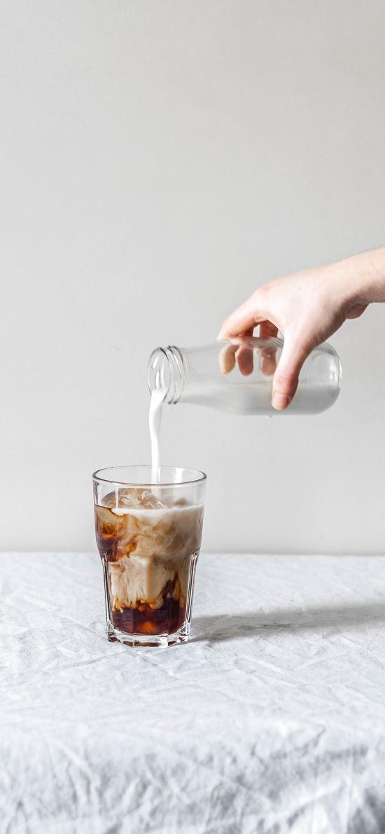 饮品 咖啡 牛奶 玻璃杯