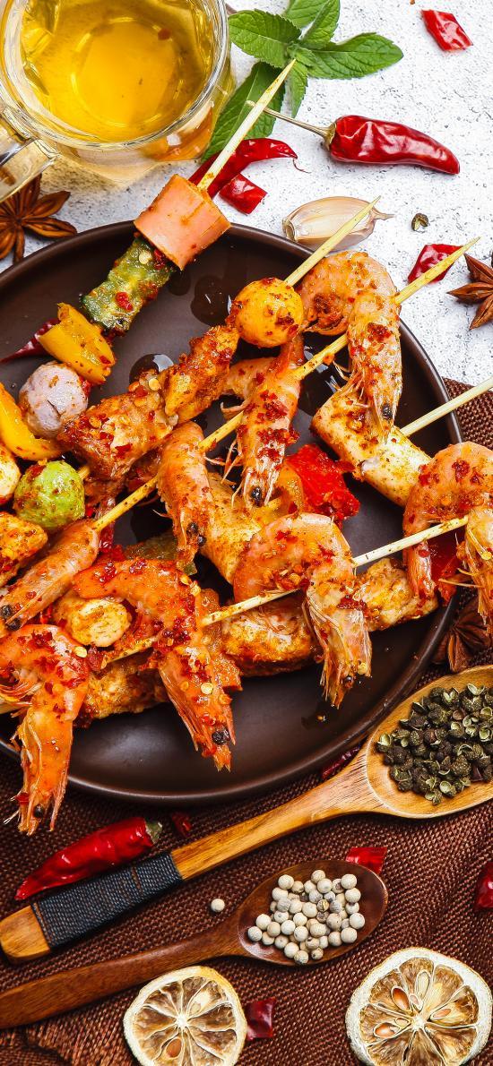 串串 烤虾 麻辣串 食材 香料