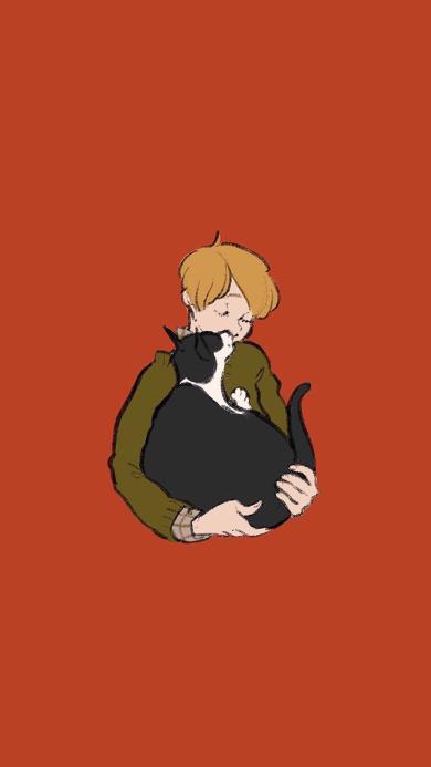 Hakoniwa插画 男孩 猫咪