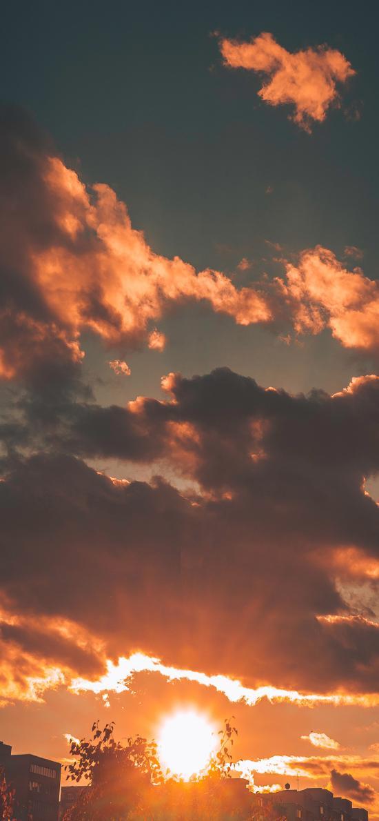 夕阳 彩霞 落日 云朵