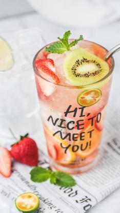 饮料 草莓 奇异果 水果茶