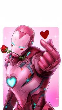 复仇者联盟 钢铁侠 粉色 比心