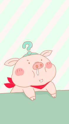 卡通 猪猪 呆萌 问号