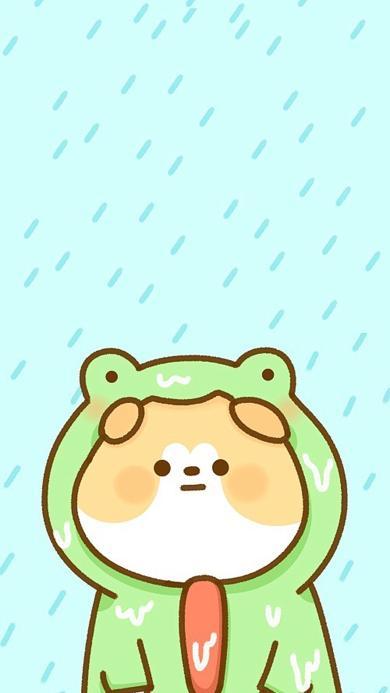 卡通 狗狗 青蛙头套 下雨 可爱