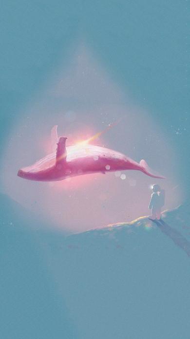 鲸 插画 太空人 唯美