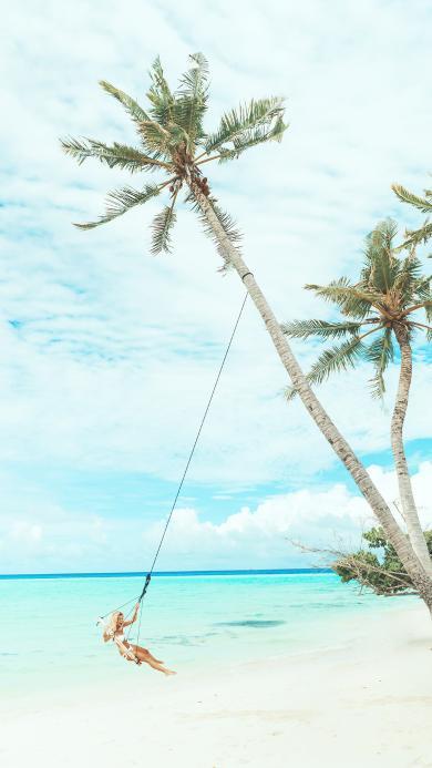 海岸 椰树 荡秋千 唯美 度假