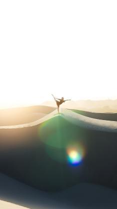 沙漠 阳光 瑜伽 动作