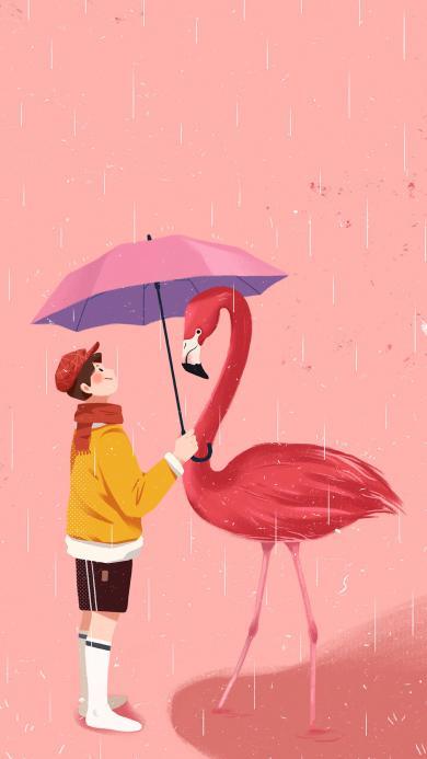 插画 火烈鸟 男孩 雨伞