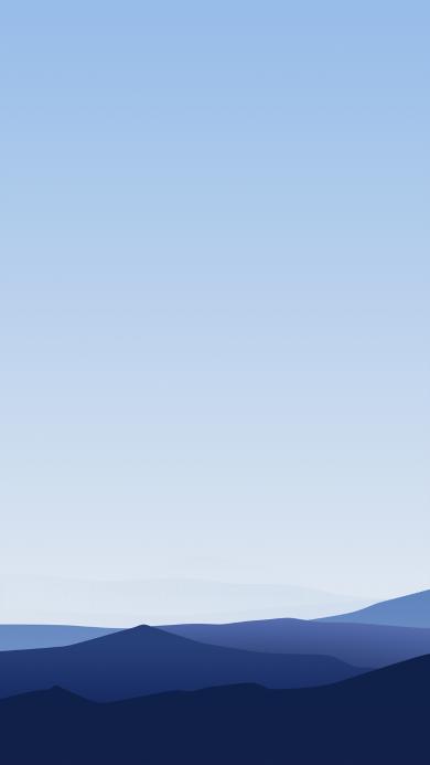 山 蓝色 渐变 线条
