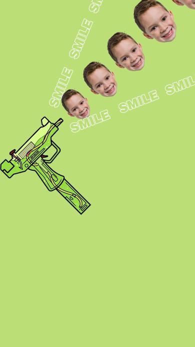 微笑 smile 假笑男孩 水枪 绿色