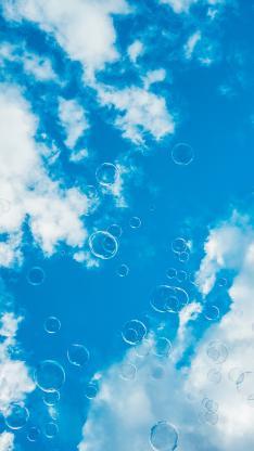 天空 蓝天白云 泡泡