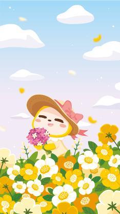 夏萌猫 卡通 可爱 鲜花 浪漫