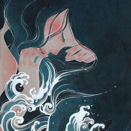 女孩 浪花 彩绘 唯美 长发