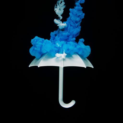 烟雾 创意 伞 水墨 蓝