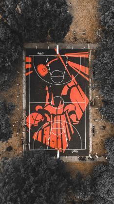 俯拍 体育场 篮球场 运动