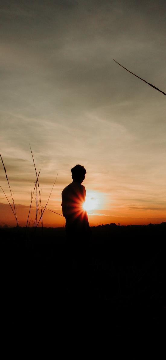 夕阳 落日 背影 唯美