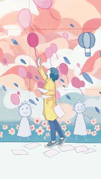气球 女孩 色彩 纸 涂鸦墙