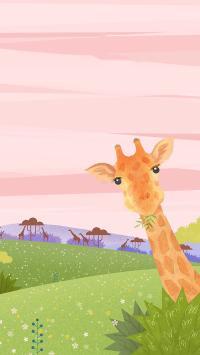 长颈鹿 插画 丛林 草坪