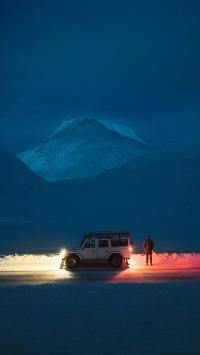 夜 雪山 旅途 吉普 灯光