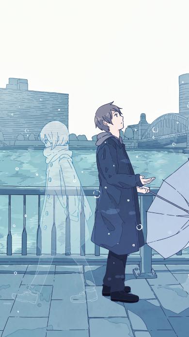 雨 男孩 思念 江边 蓝色 伞 爱情