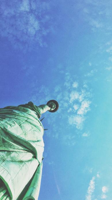 自由女神 仰视 雕塑 美国 天空 蓝色