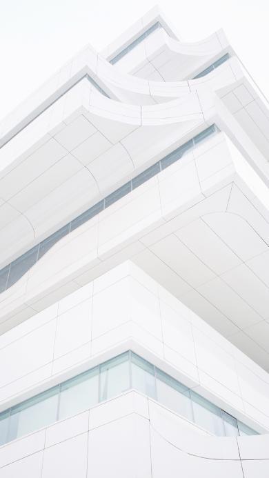 建筑 现代 洁白 层叠 仰拍