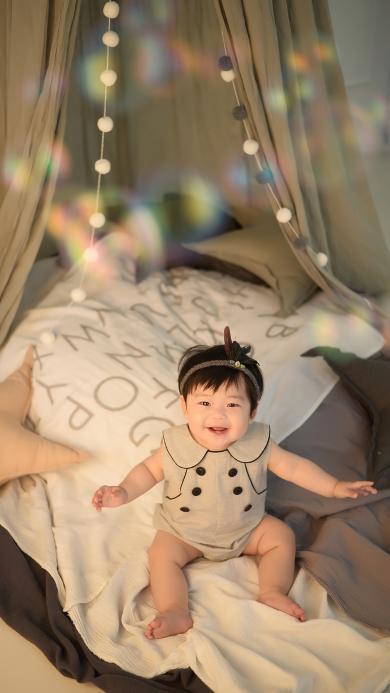 幼儿 大床 可爱 笑容