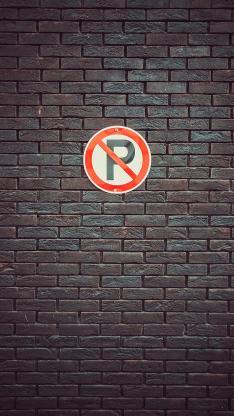指示 禁止 停车 墙壁