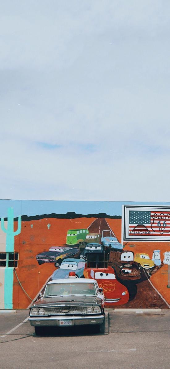 停车场 美国 涂鸦墙 老爷车 破旧 警车