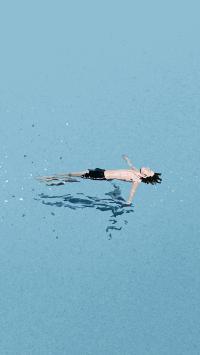 游泳 蓝色 男孩 水面 倒影 插画